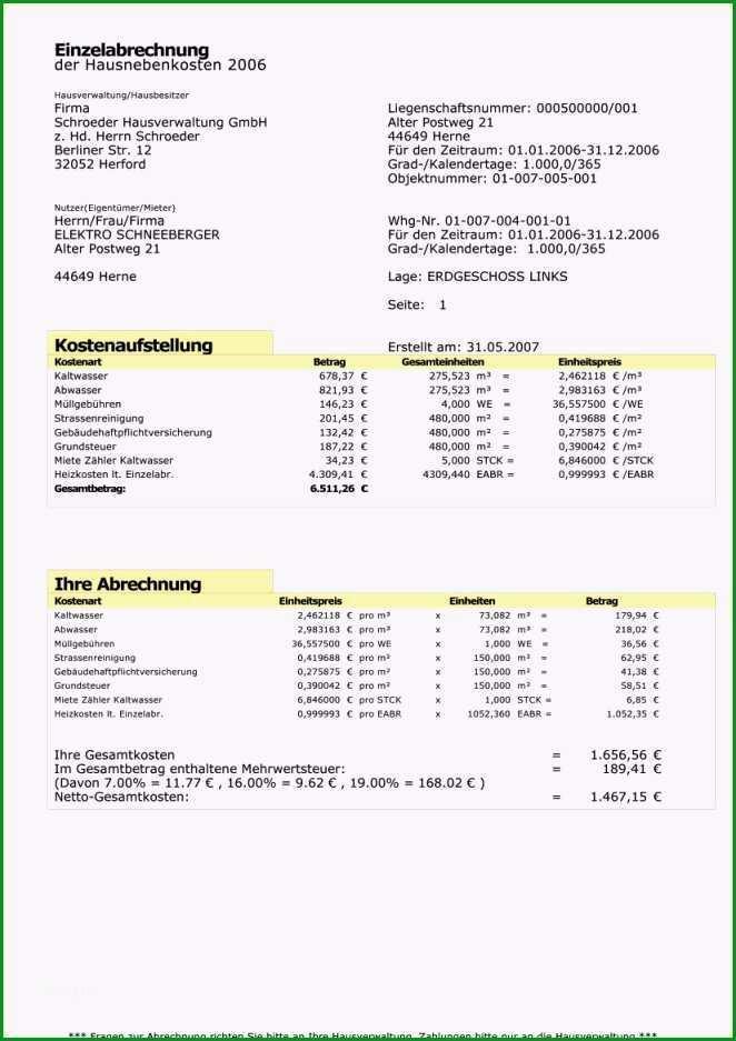 Einzahl 11 Heizkostenabrechnung Muster