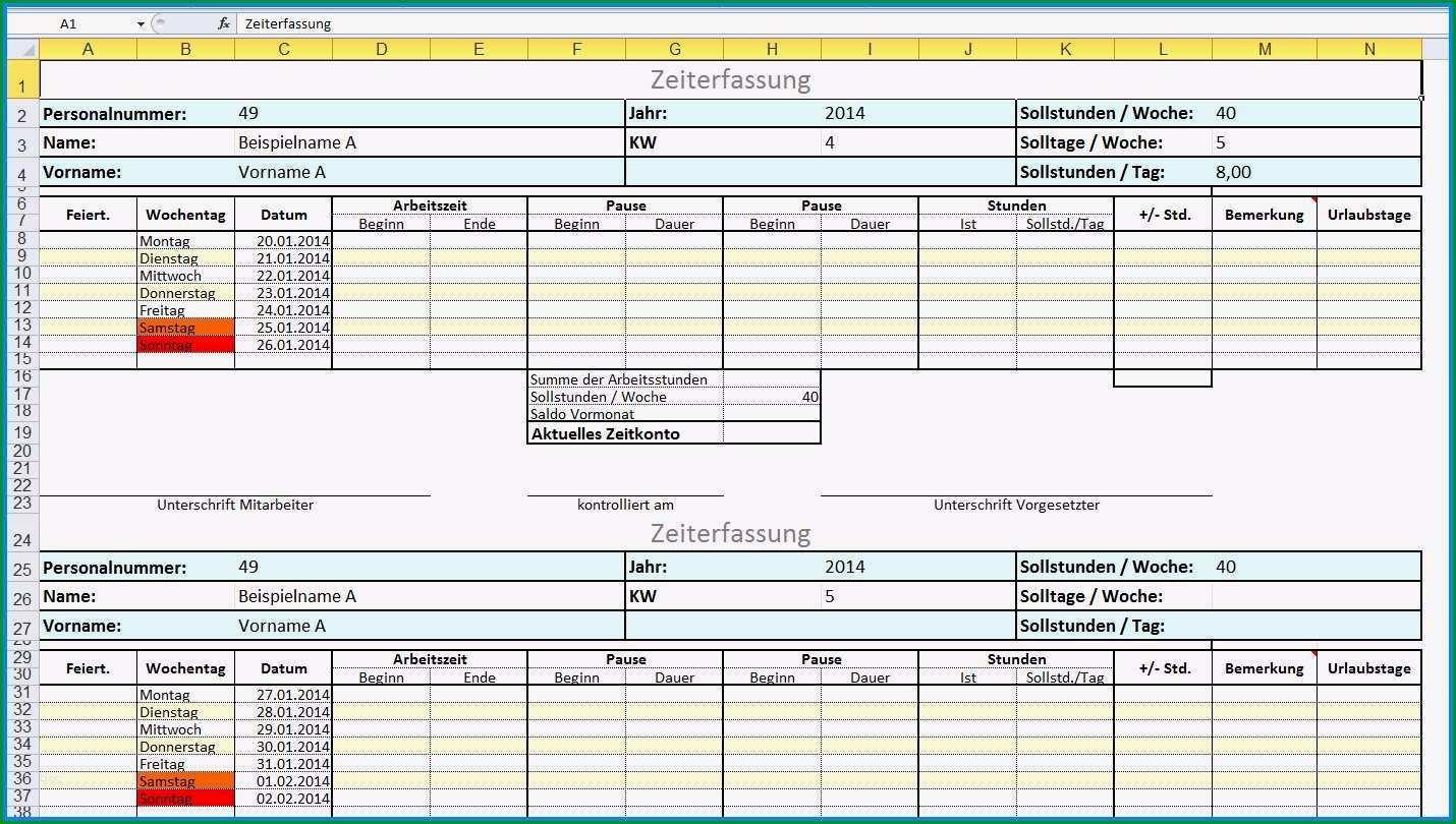 Einzahl 13 Arbeitszeit Excel Vorlage