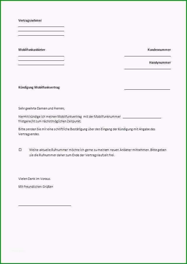 17 handyvertrag kundigen vorlage zum ausdrucken