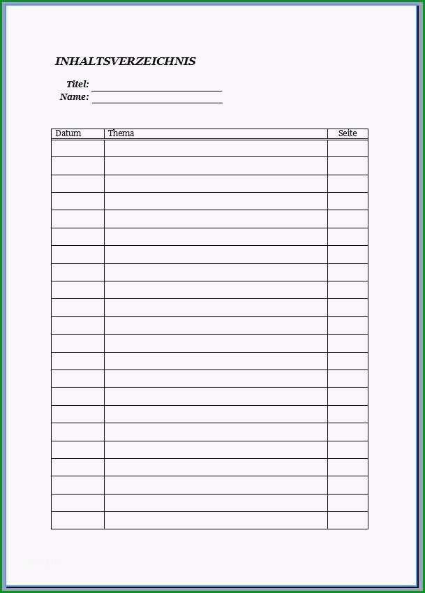 bestellliste muster genial inhaltsverzeichnis vorlage schule 2