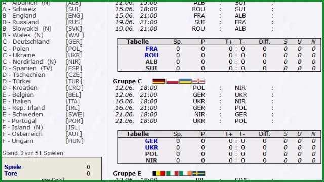 EM Tippspiel Euro 2016 Tippspiel Vorlage kostenlos en