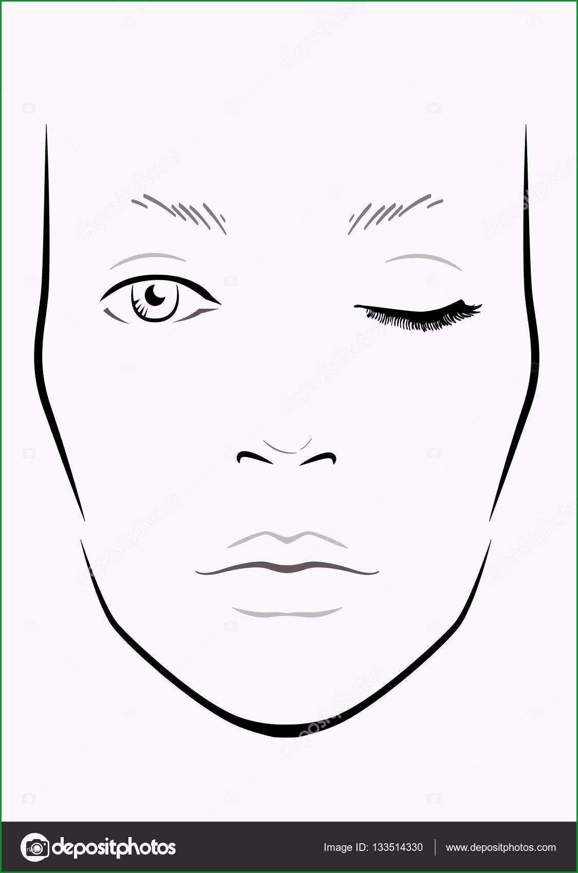 Einzahl Gesicht Diagramm Make Up Artist Leer Vorlage Vektor