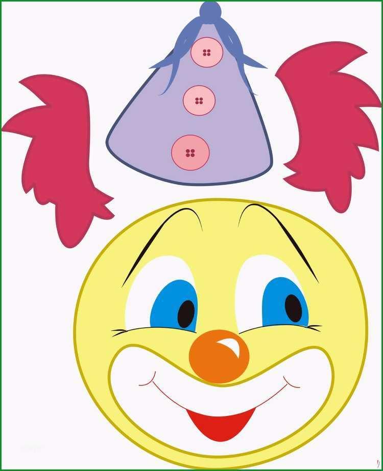 clown basteln kindern fasching vorlage