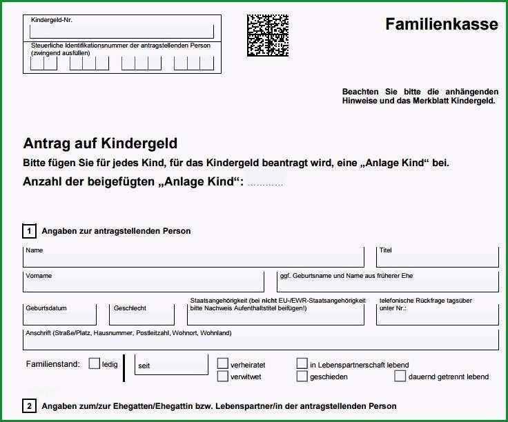 Kindergeldantrag Vorlage PDF Formular