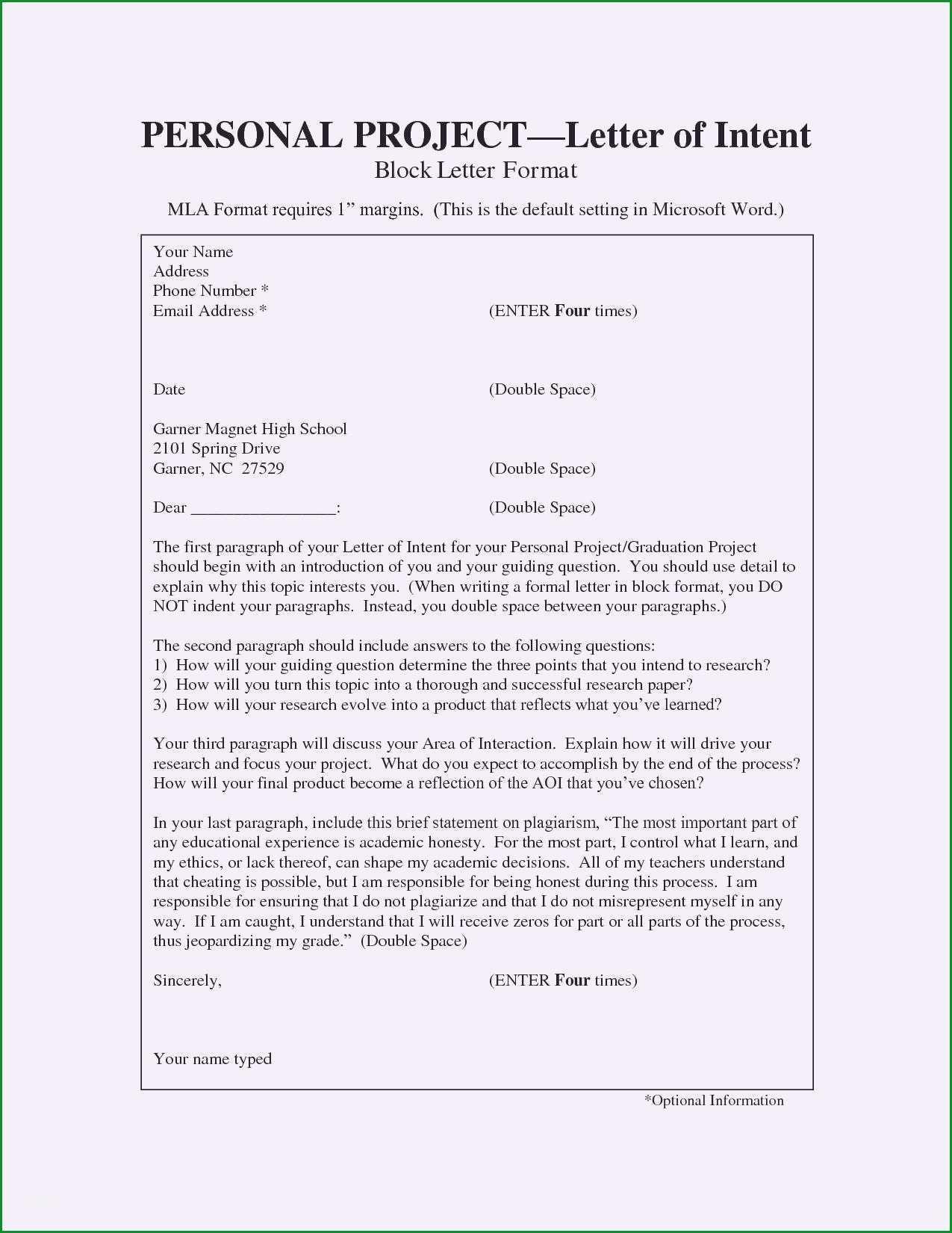 letter of intent vorlage