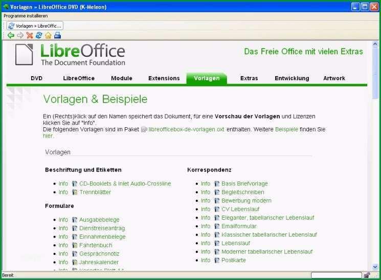libre office vorlage installieren