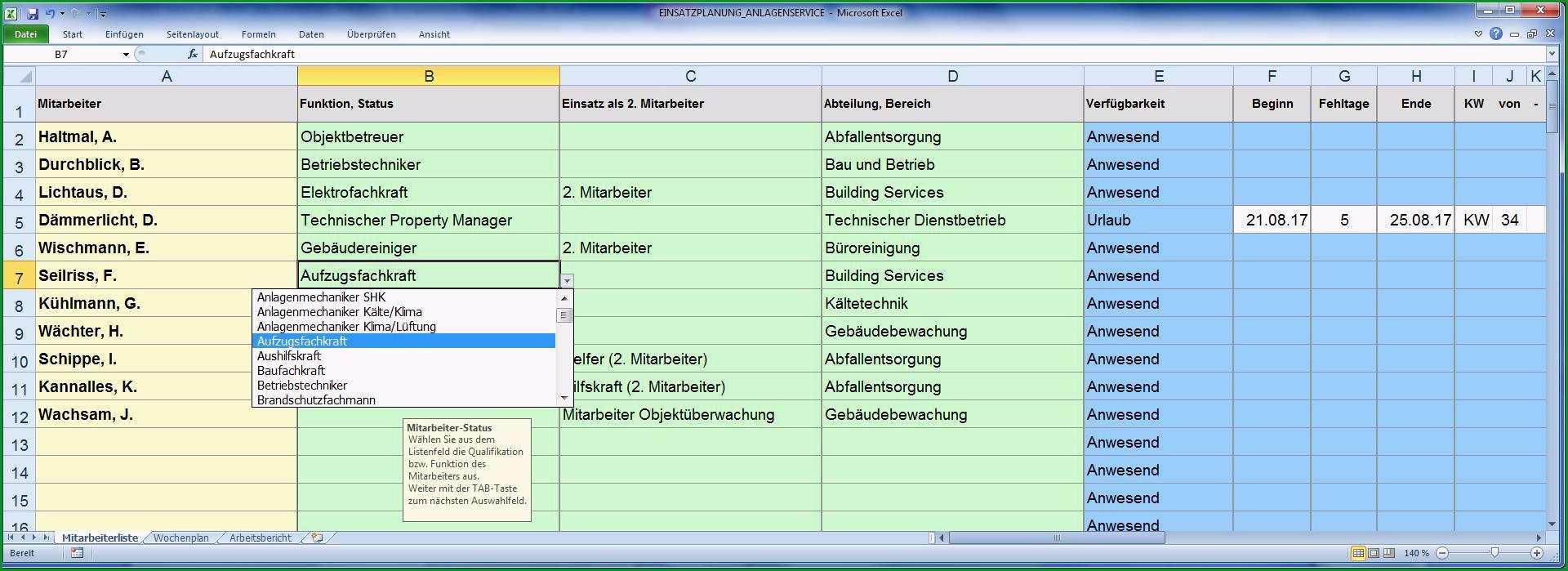 Excel Tool Mitarbeiter Einsatzplanung Gebaeude Anlagenservice