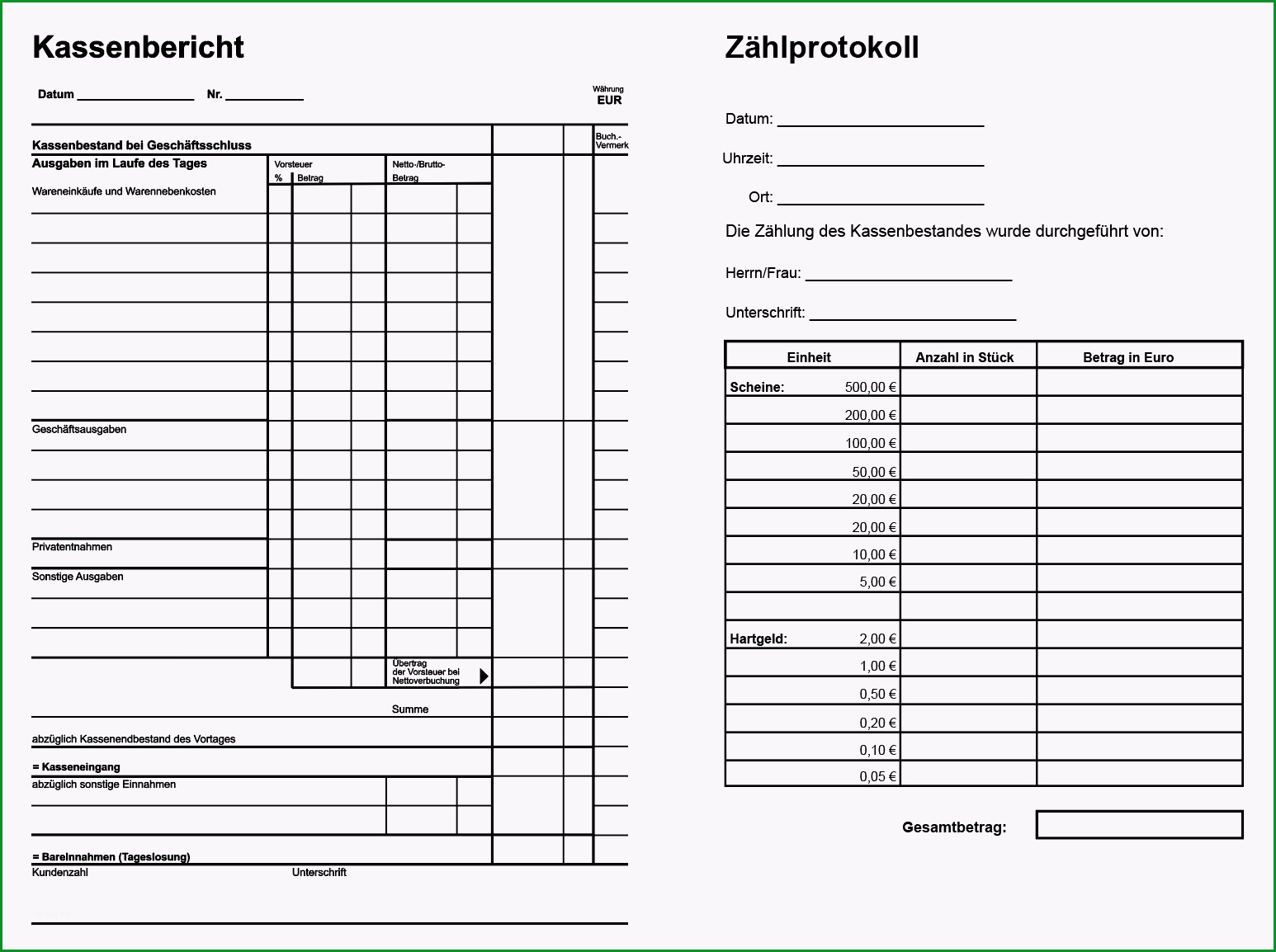 muster kassenbericht und zaehlprotokoll pdf vorlage