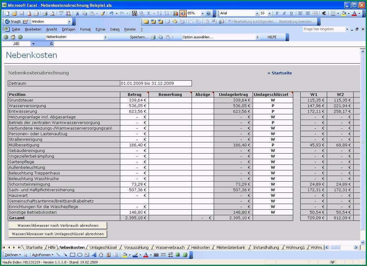 nebenkostenabrechnung muster kostenlos excel 2010