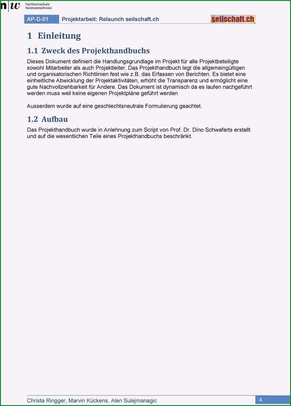 projekthandbuch vorlage