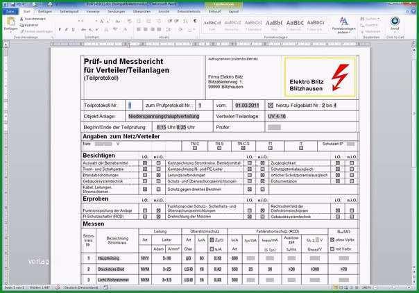 prufprotokoll elektrischer anlagen vorlage