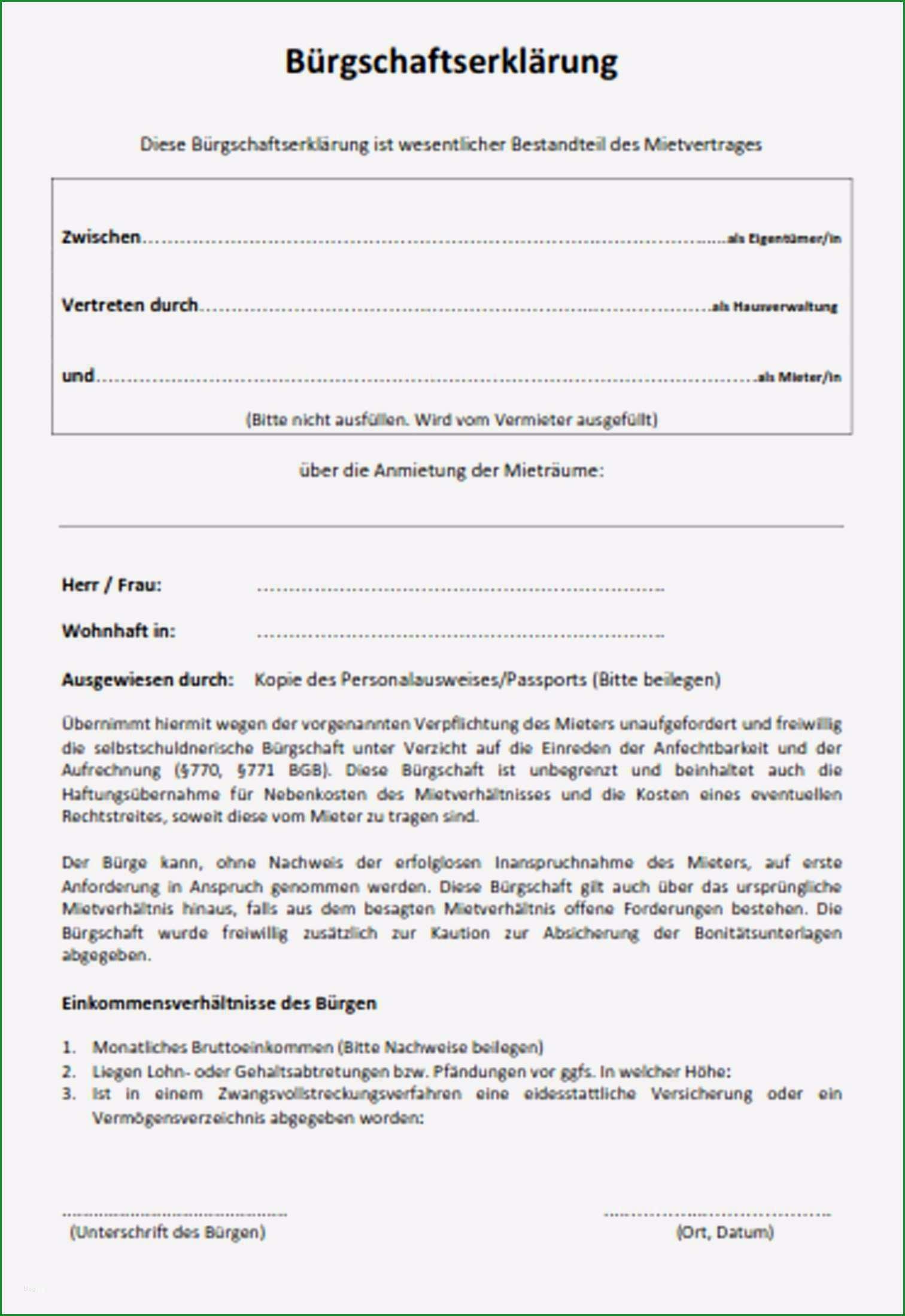 burgschaft miete muster pdf