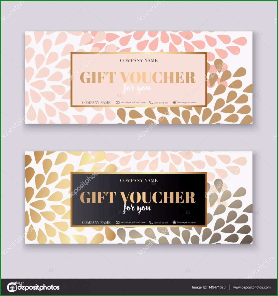 stock illustration voucher template with gold t
