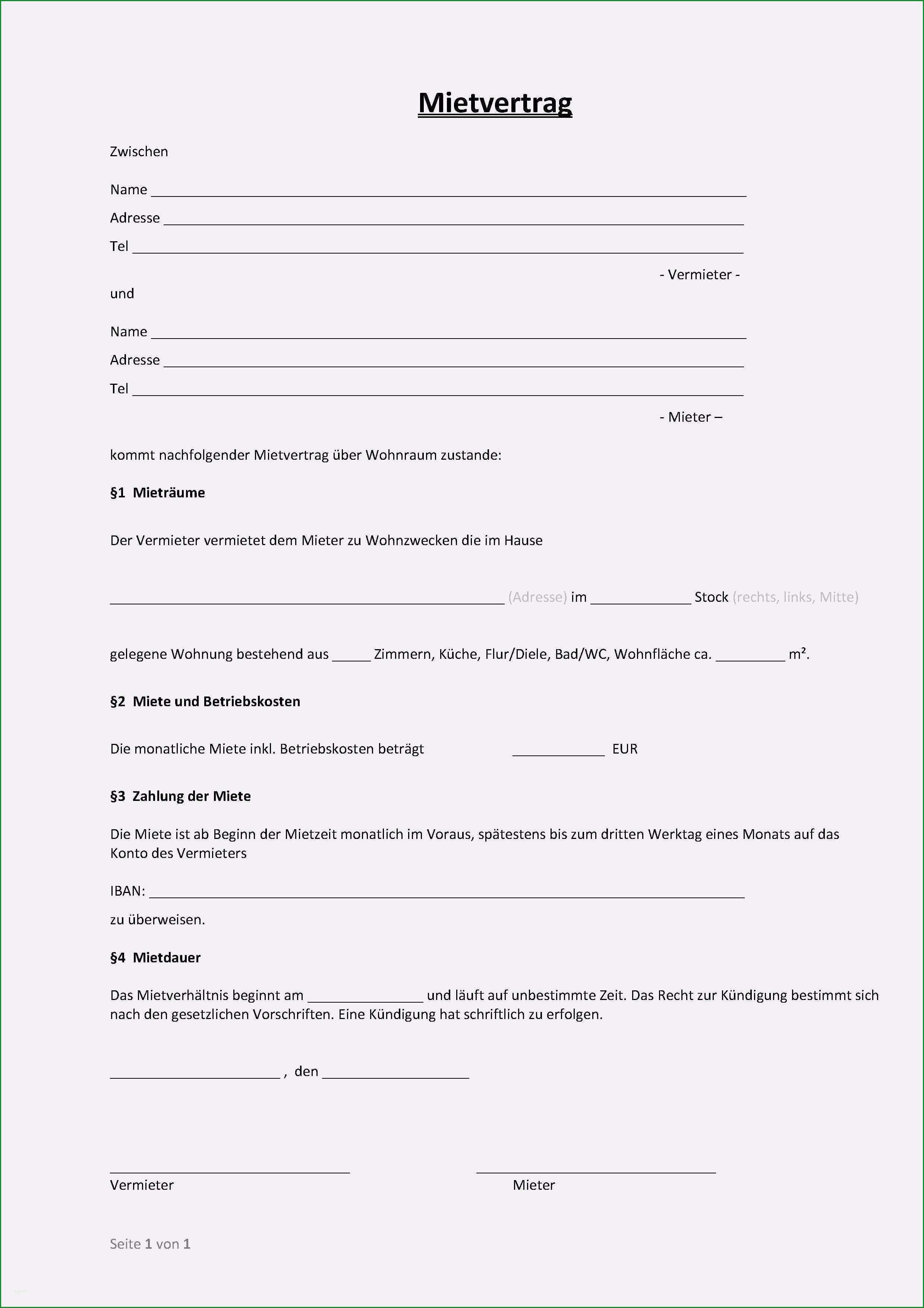 mietvertrag vorlage word einzigartig einfacher mietvertrag wo wohnung steuern vertrag