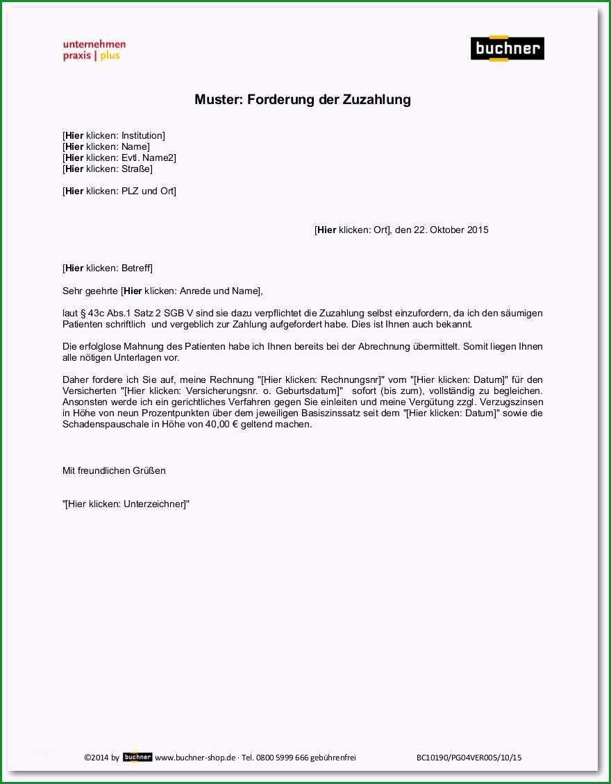 muster forderung der zuzahlung bc pg04