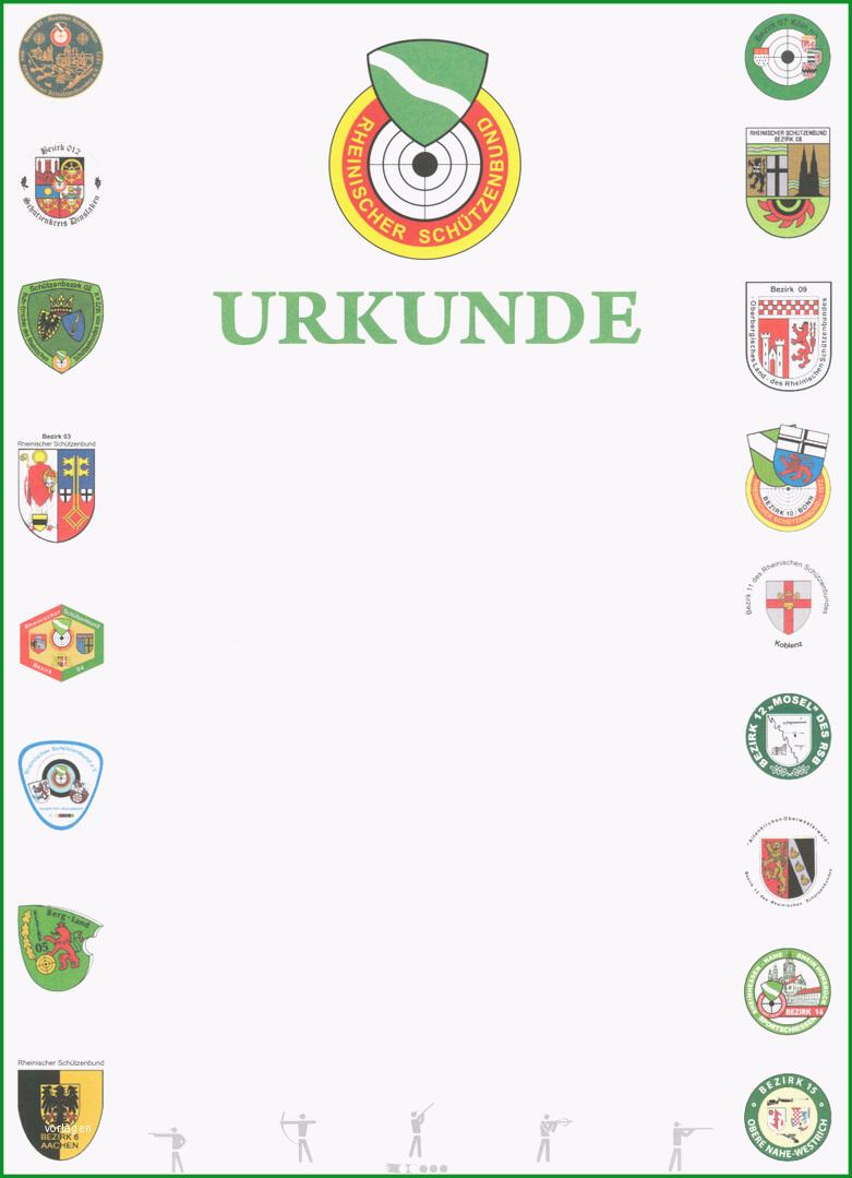 NEU Urkunde blanko Wappen der Bezirke