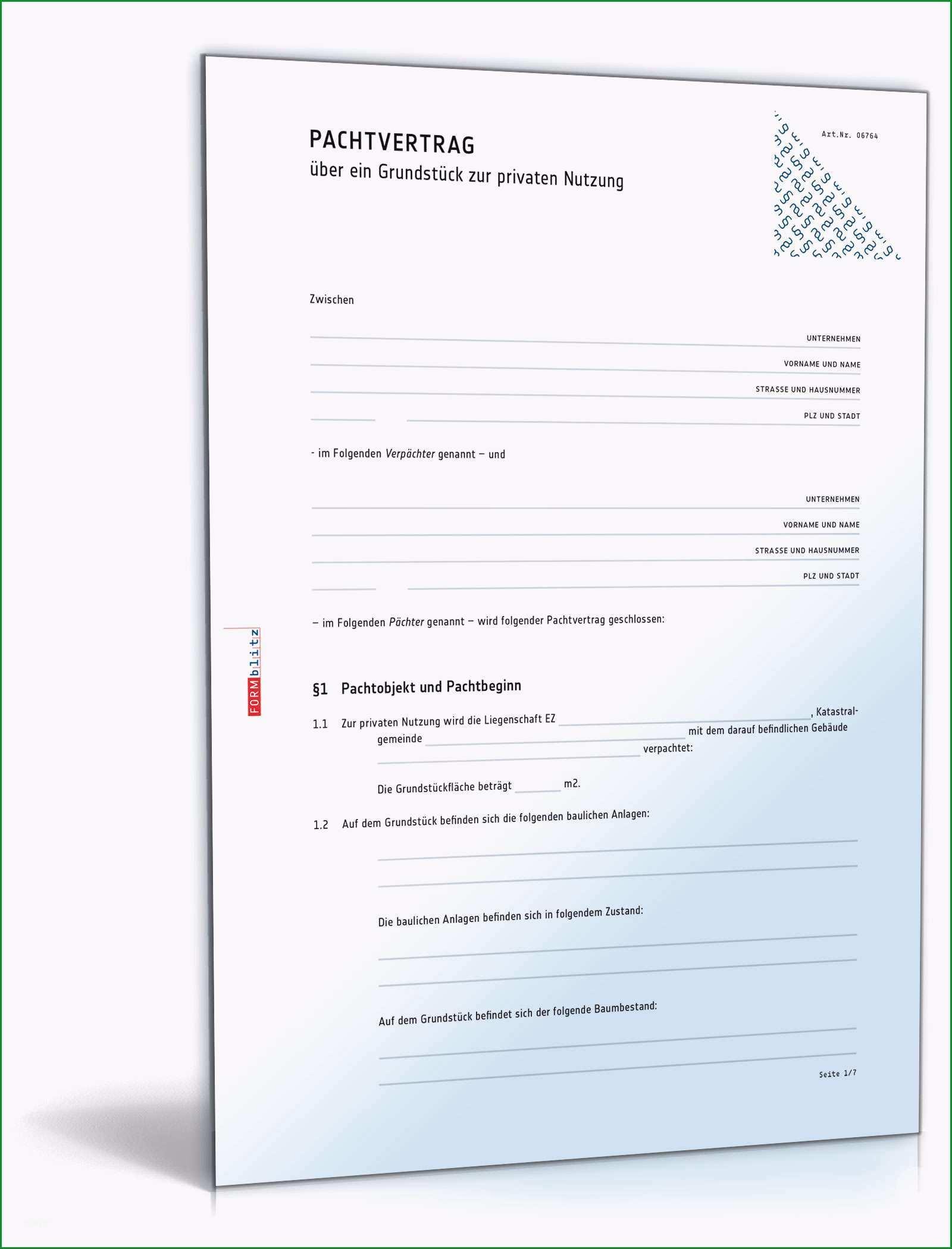 Erstaunlich Pachtvertrag Grundstück Privatnutzung Muster Vorlage