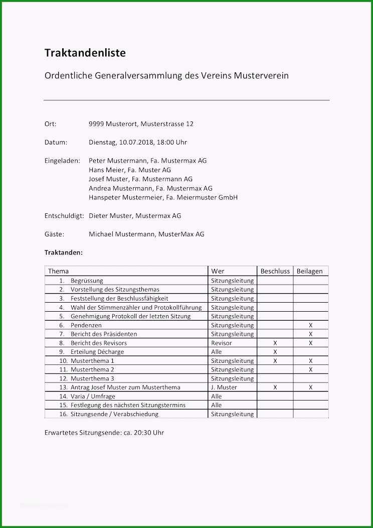 protokoll vorlage word frische traktandenliste vorlage muster word format