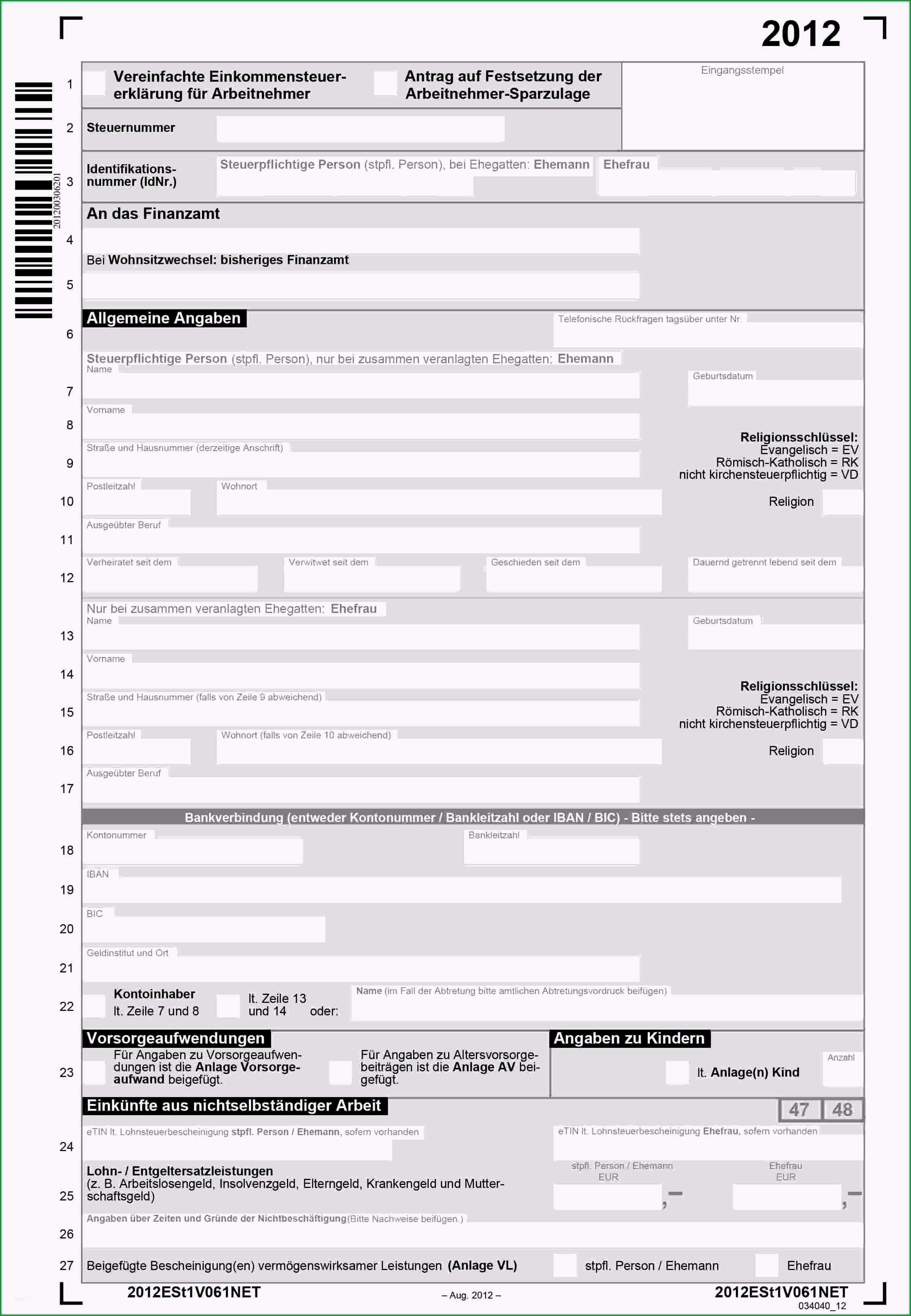 steuererklarung 2016 vorlage hubsch einkommensteuer 2014 formulare