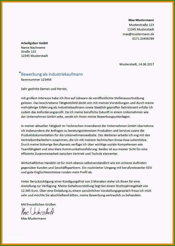 11 bewerbungsschreiben ausbildung industriekaufmann vorlage