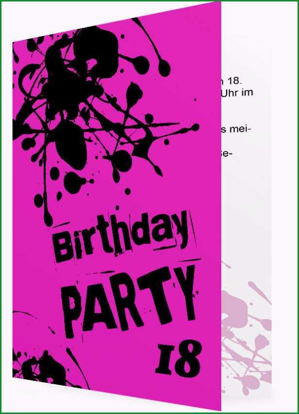 18 Geburtstag Einladung Vorlagen Knall Pink mit Farbklecksen in Schwarz 86
