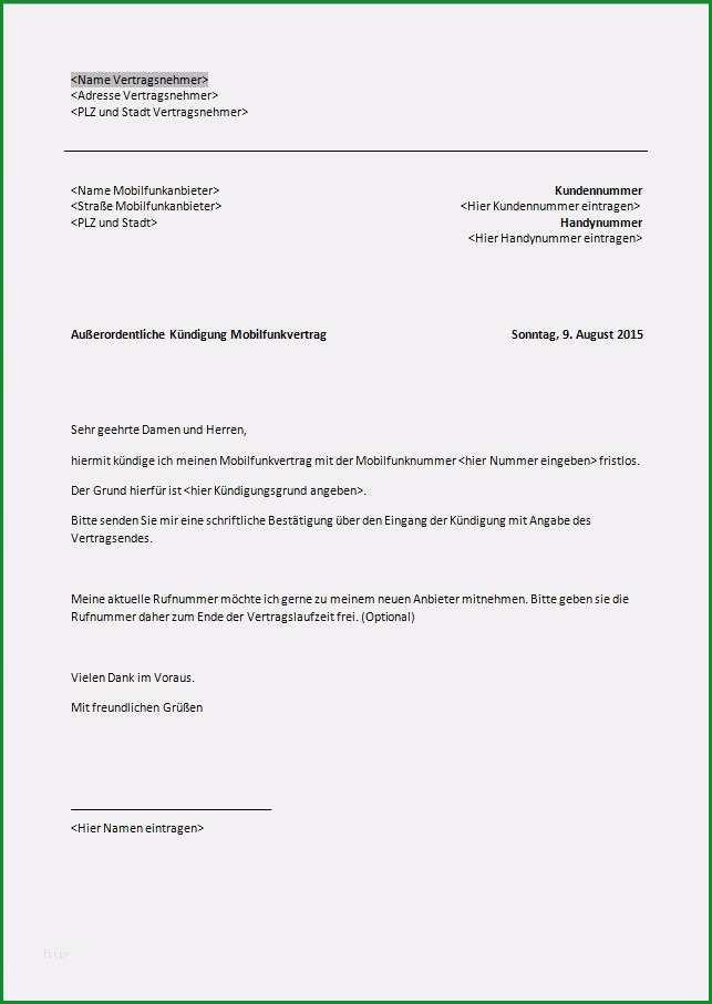 handyvertrag kundigen rufnummernmitnahme vorlage