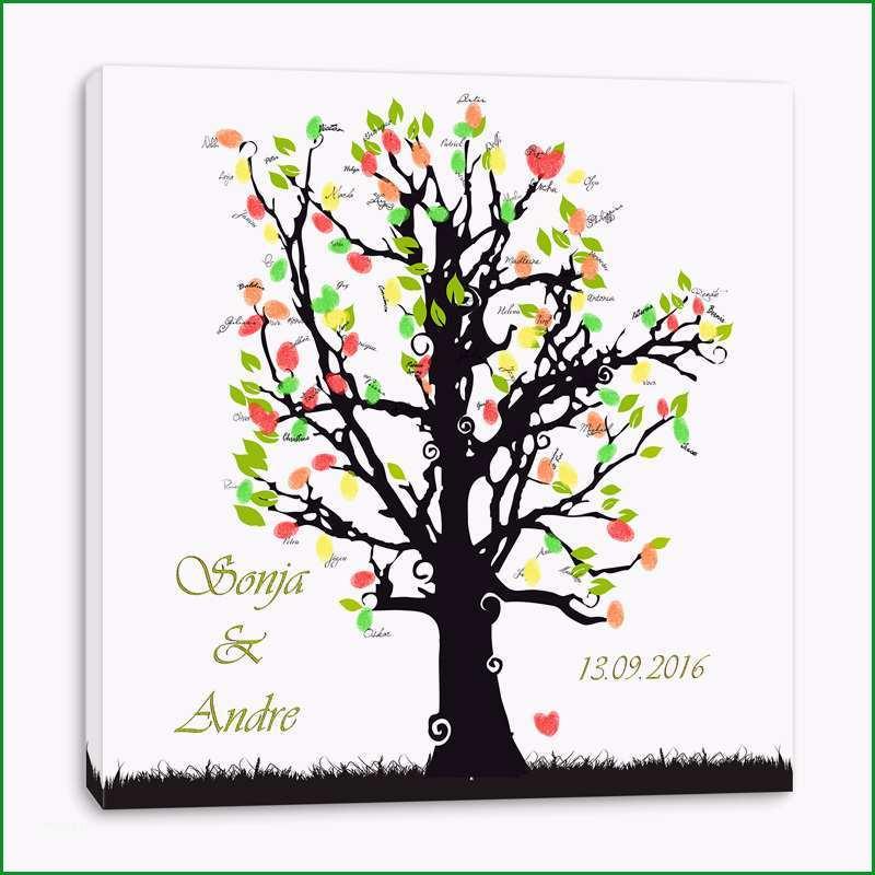 art Hochzeitsspiele Fingerabdruck Leinwand Hochzeitsbaum gruen individuell
