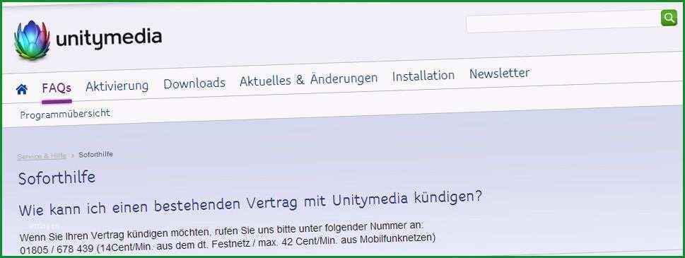 Fantastisch Kündigung Unitymedia Vorlage