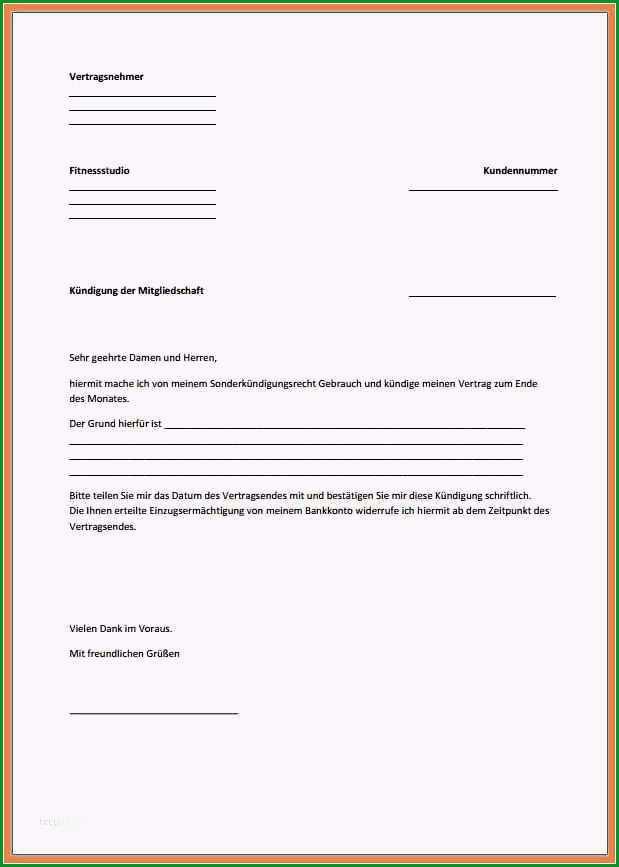 kundigungsschreiben vorlage fitnessstudio wunderbar vorlage kundigung fitnessstudio pdf kundigung vorlage