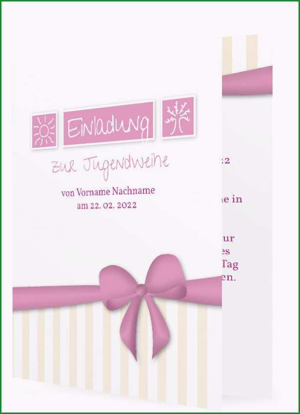 Vorlage Einladungskarten zur Jugendweihe Schleife in rosa 1480