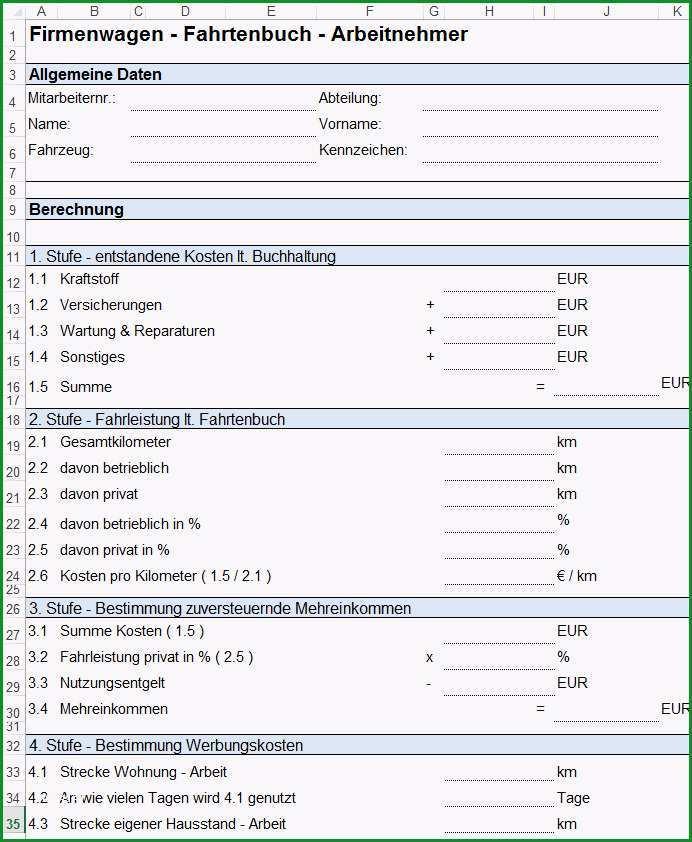 Vorlage Formular fuer Dienstreiseantrag Reisekostenabrechnung und Privatzung PKW fuer Arbeitnehmer