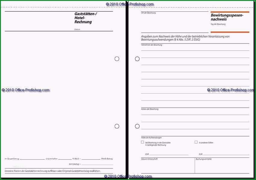 word vorlage broschure 2 seitig hubsch sigel bewirtungsspesennachweis gaststttenrechnung a5 2