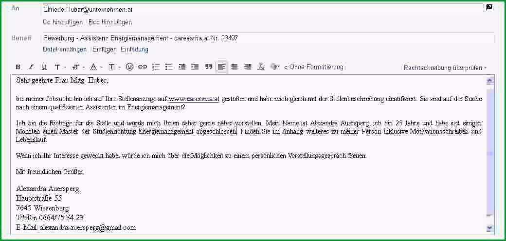 21 email bewerbung vorlage