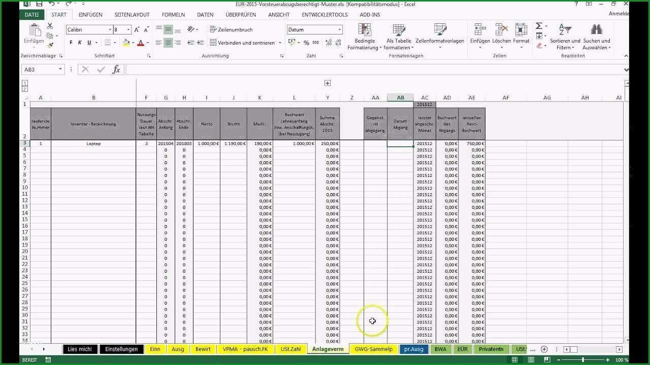 Faszinieren Einführung Excel Vorlage Einnahmenüberschussrechnung