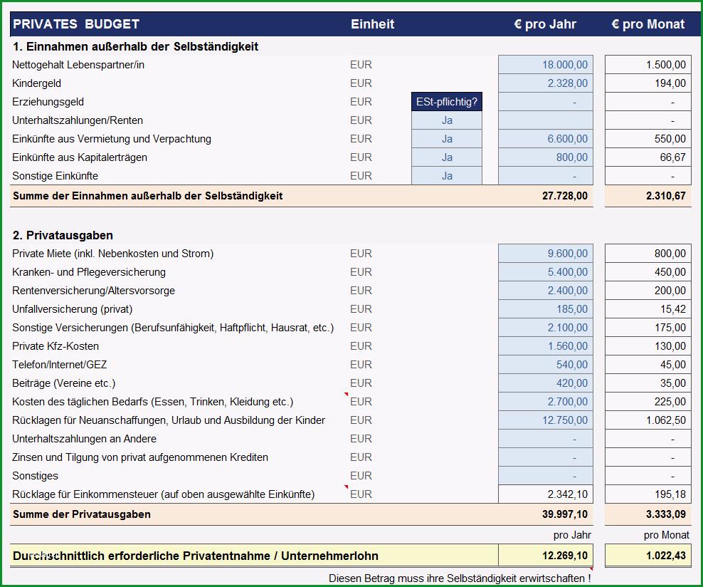 Preiskalkulation fuer Selbstaendige mit Excel Produkte u Dienstleistungen