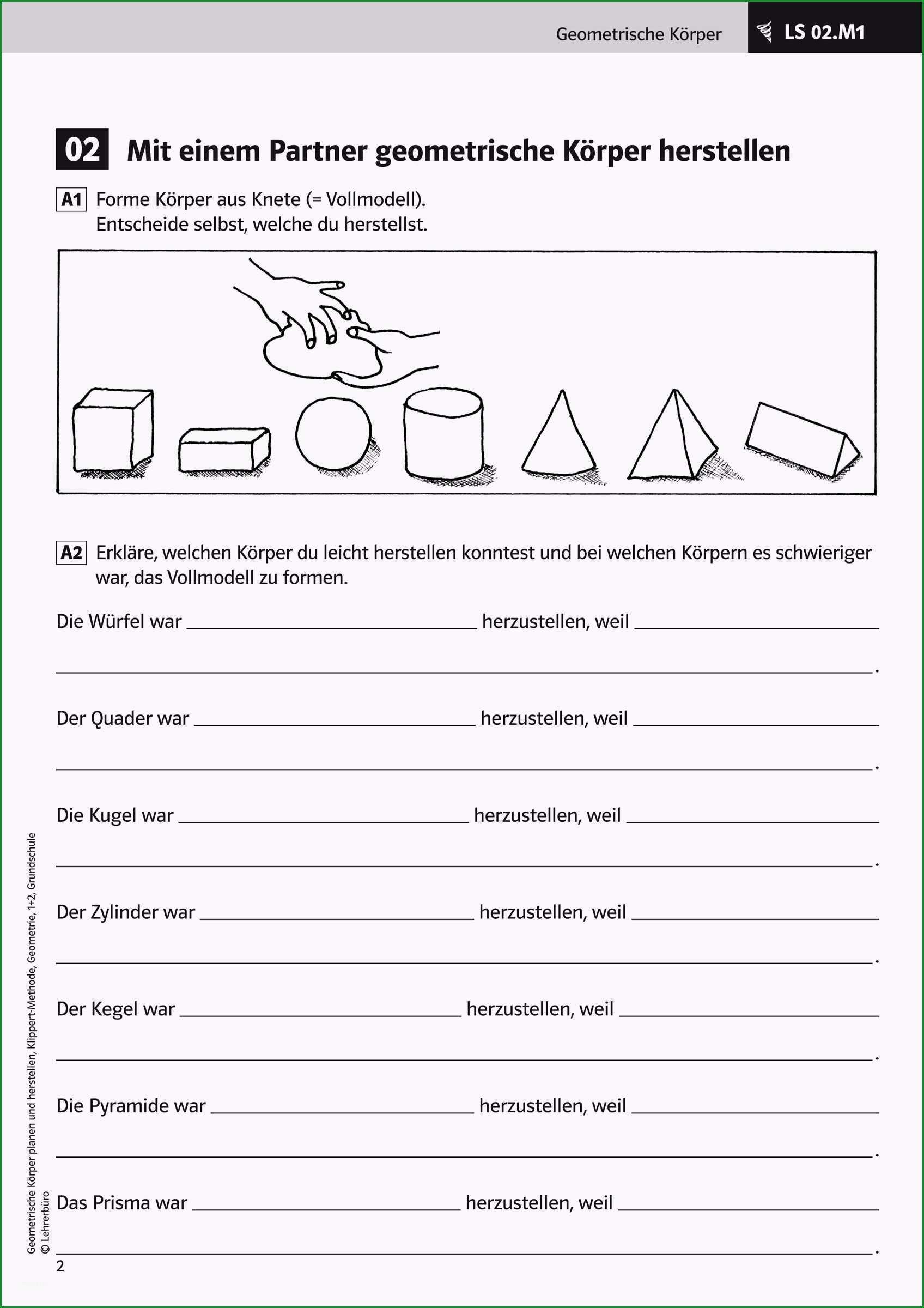 geometrische korper grundschule arbeitsblatter editierbar arbeitsblatter · grundschule · lehrerburo 5
