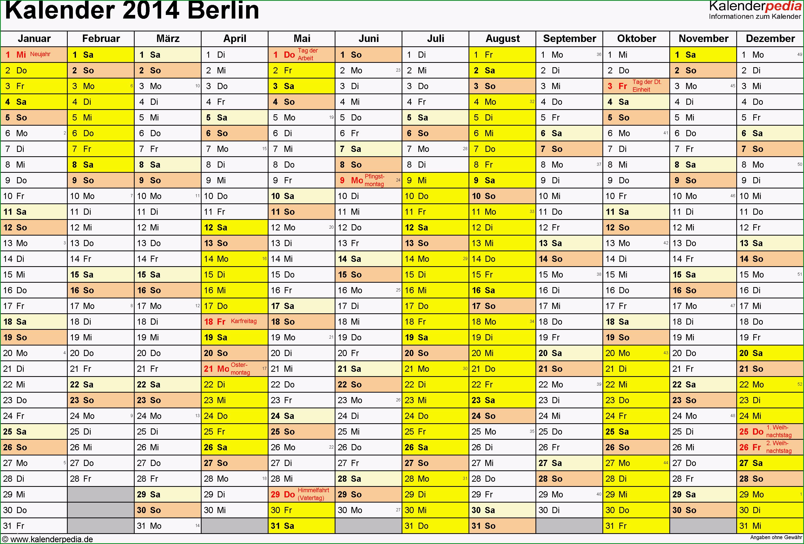kalender 2014 berlin excel vorlagen