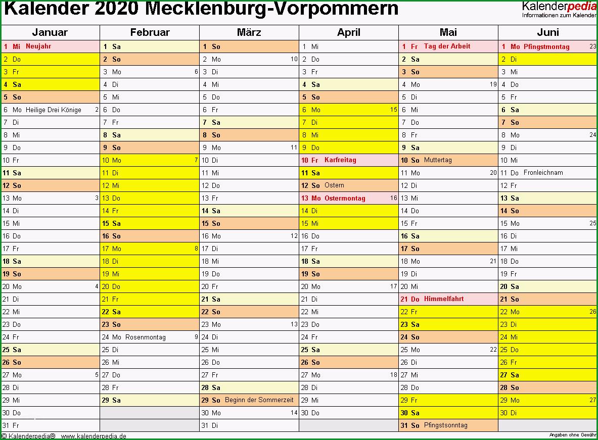 kalender 2020 mecklenburg vorpommern excel vorlagen