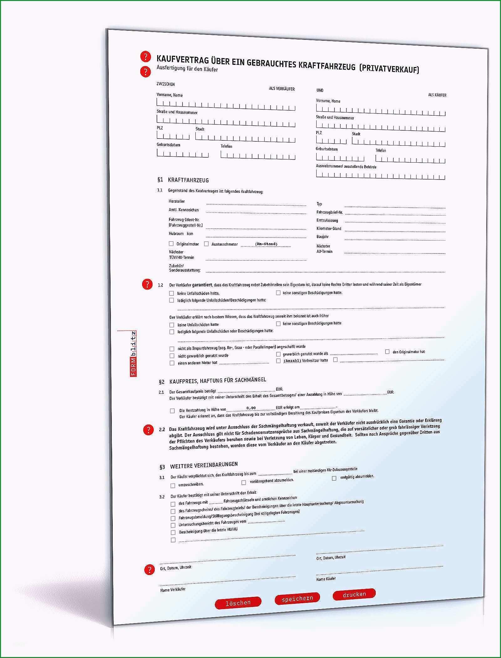 kfz kaufvertrag word vorlage 4566