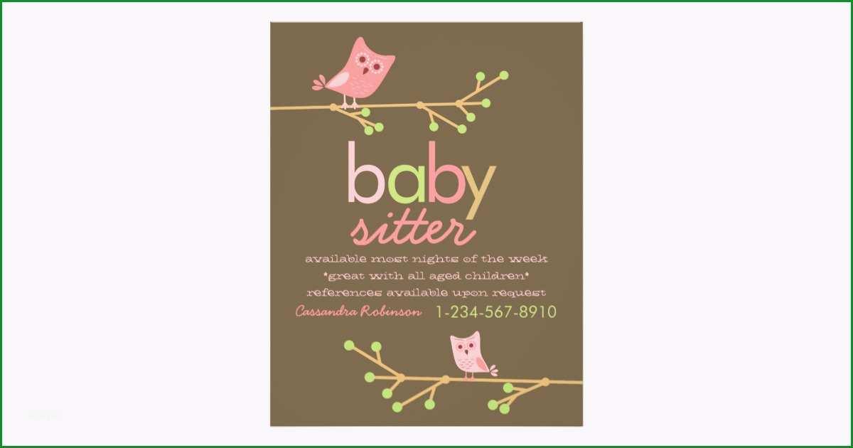 mod eulen babysitter anzeige 21 6 x 27 9 cm flyer