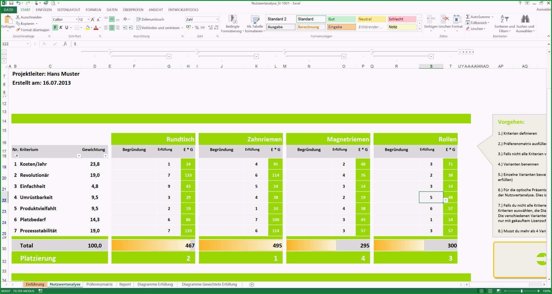 Faszinieren Nutzwertanalyse Excel Vorlagen Nwa Präferenzmatrix