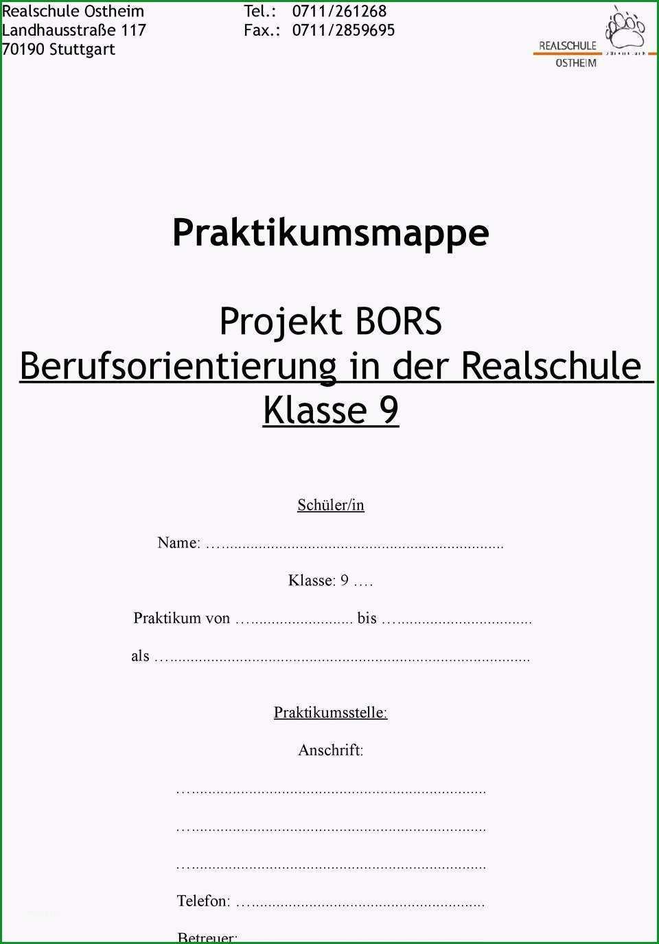 Praktikumsmappe projekt bors berufsorientierung in der realschule klasse 9