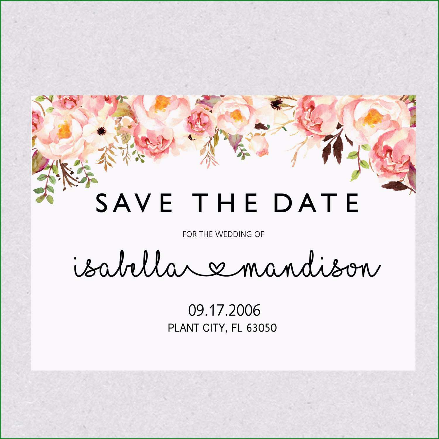 printable save the date template card