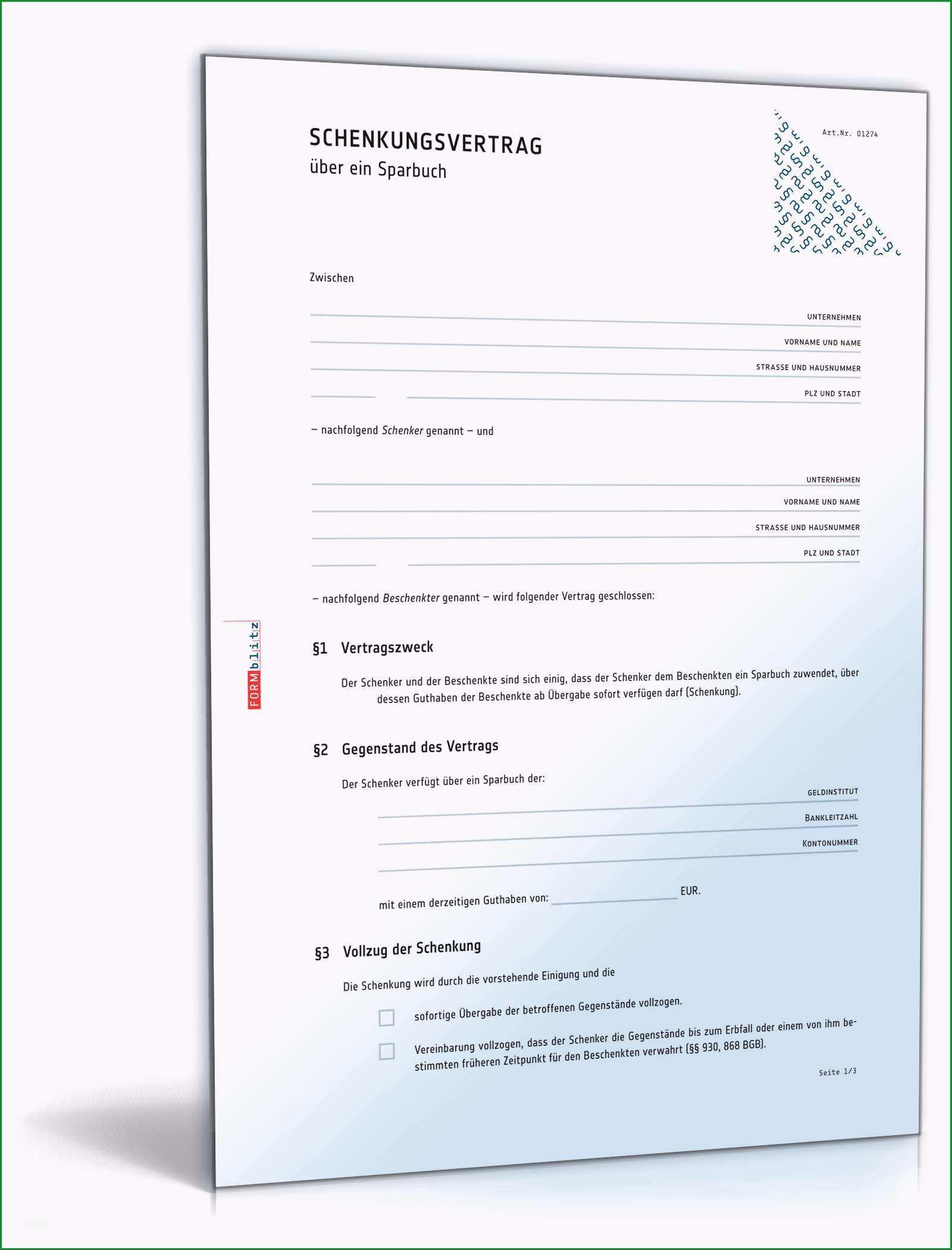 schenkungsvertrag sparbuch