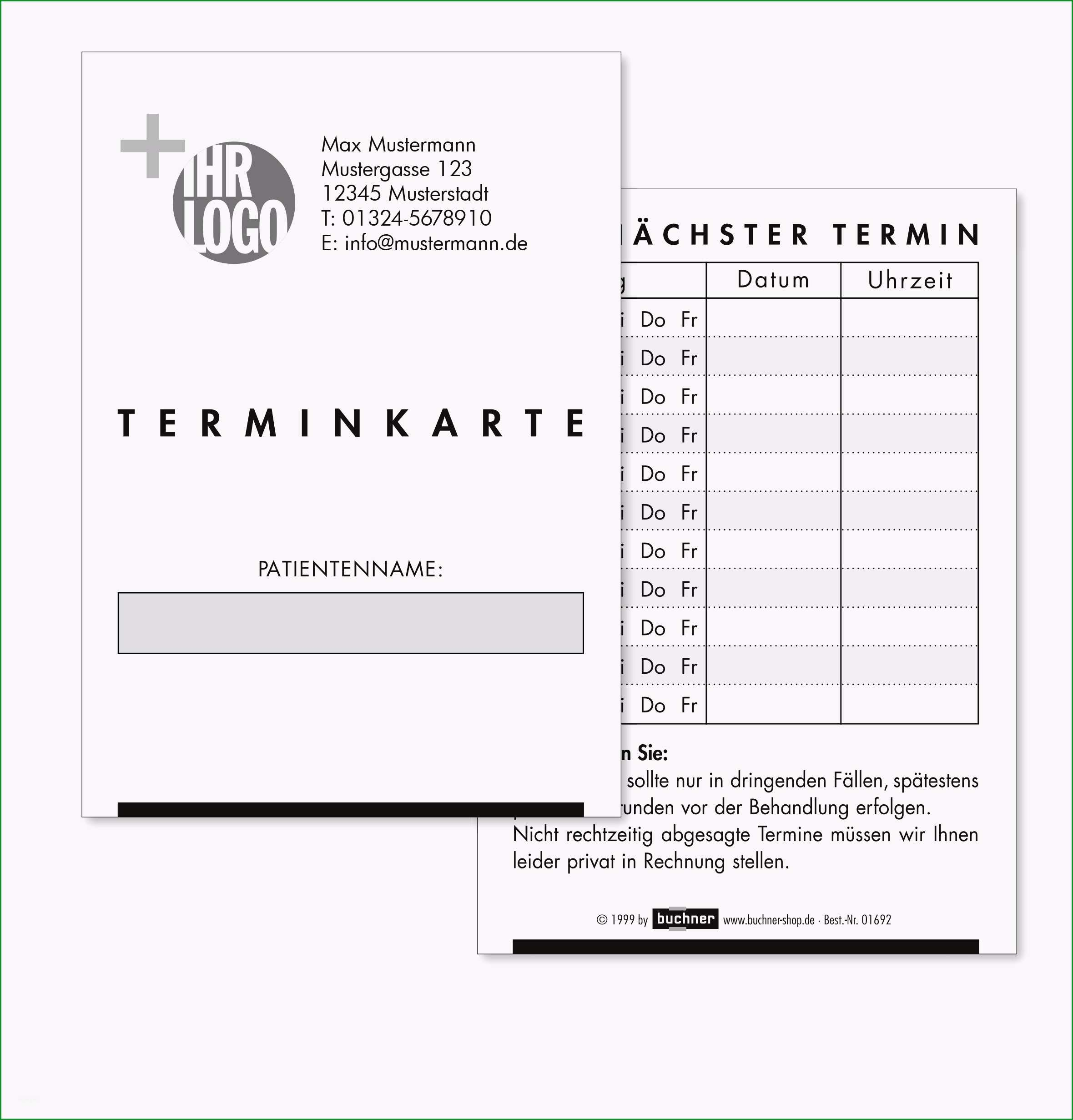 terminkarte aus karton mit ihren kontaktdaten und logo