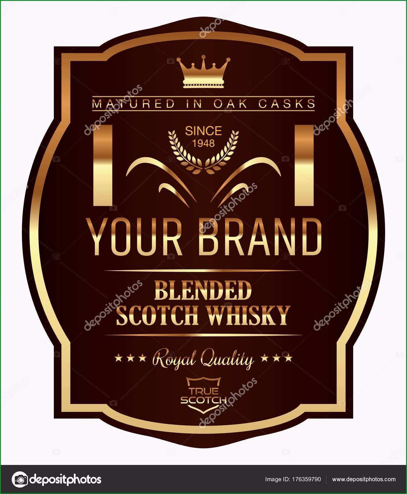 stock illustration vector whisky label whisky template