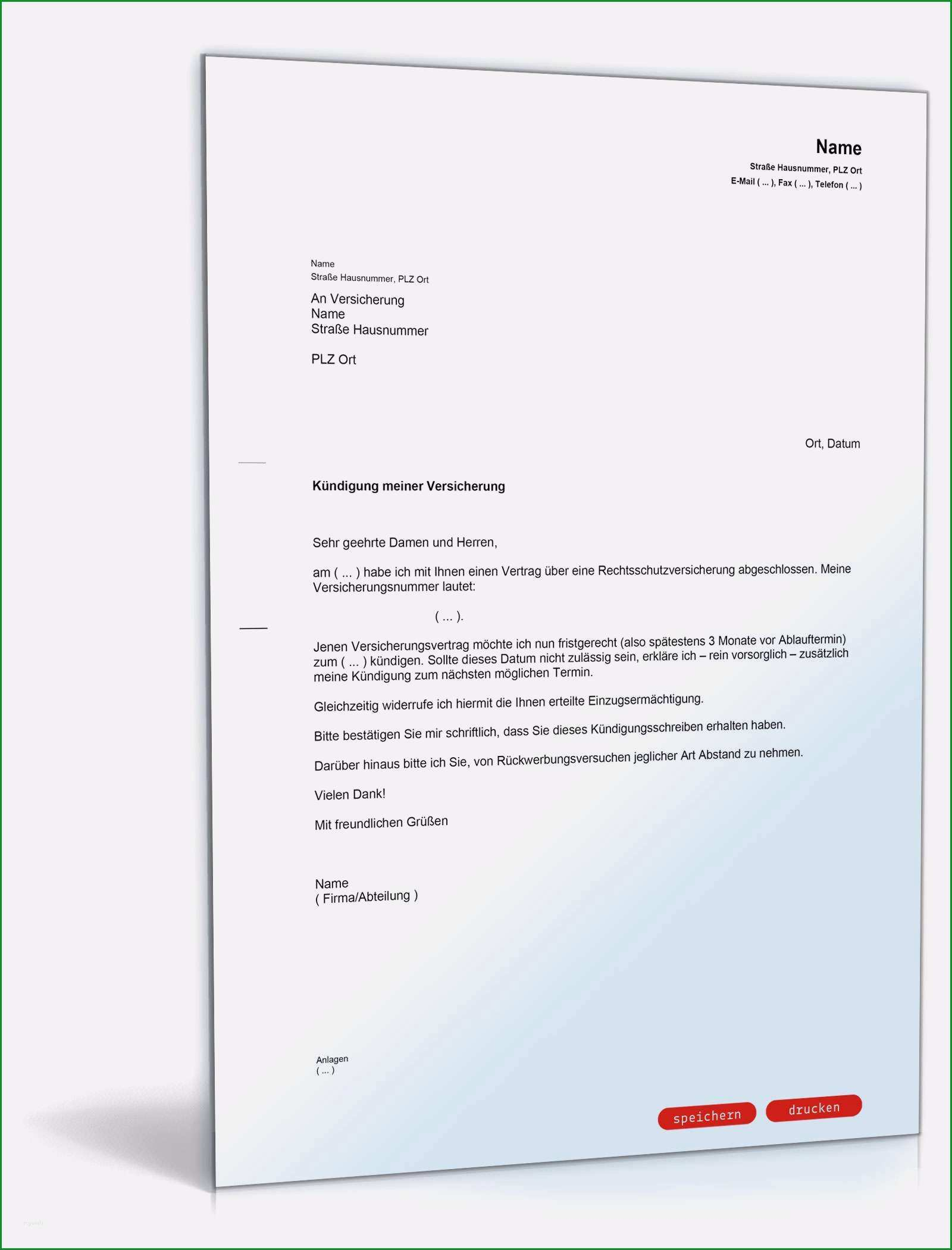 17 kundigungsschreiben versicherung vorlage