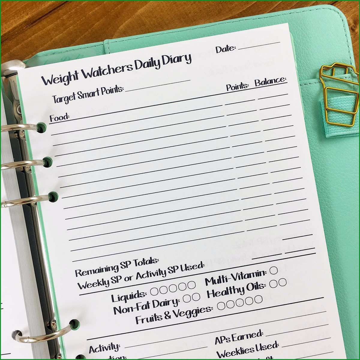 a5 weight watchers daily diary printed