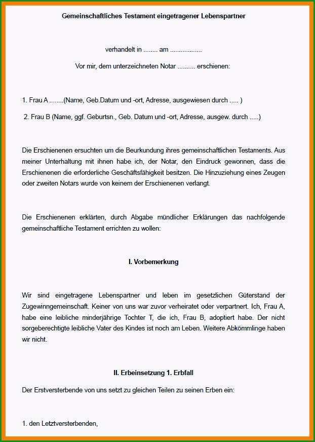 berliner testament vorlage kostenlos pdf genial gemeinschaftstestament muster vorlage word und pdf fantastisch