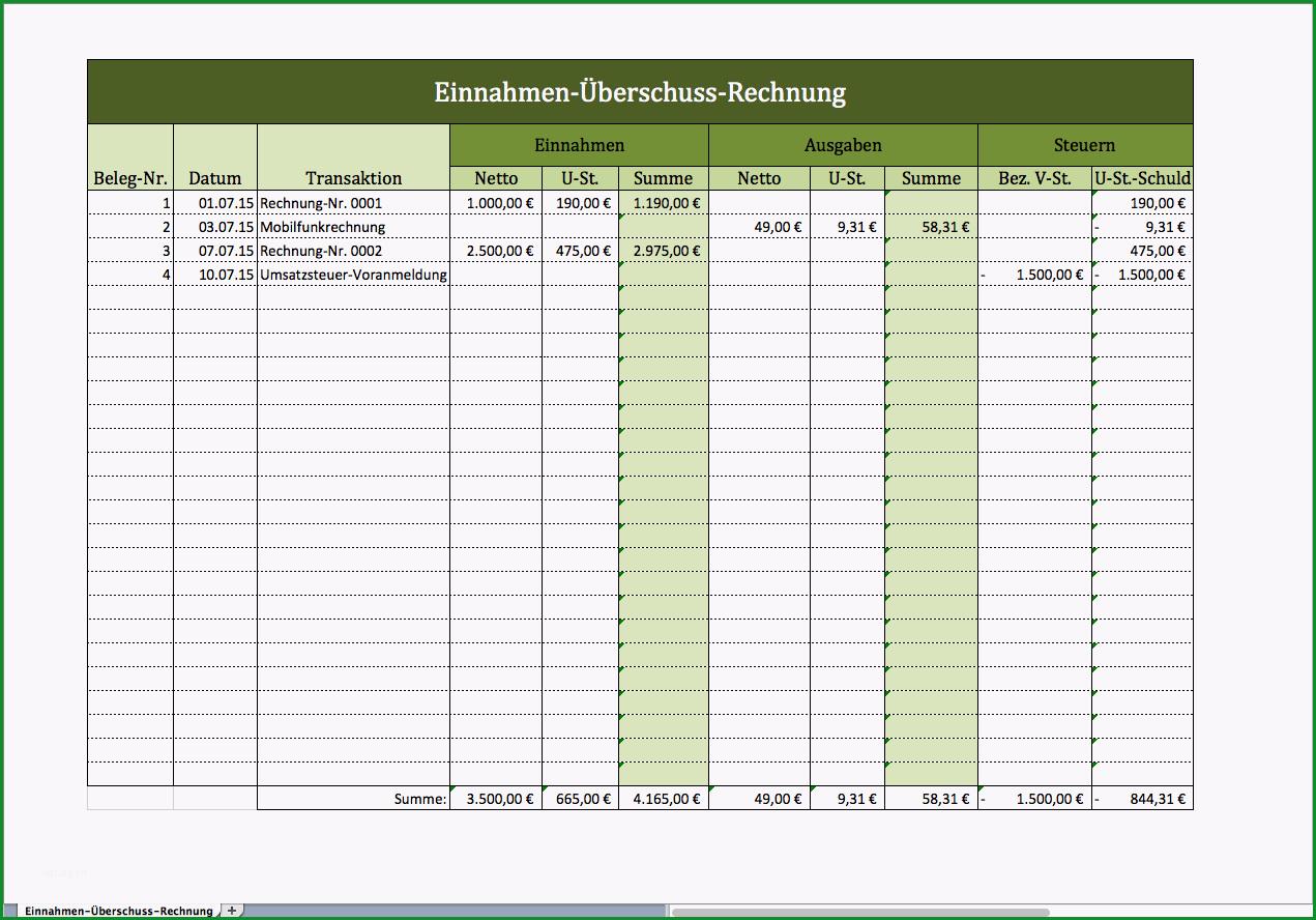 einnahmen ueberschuss rechnung mit excel vorlage